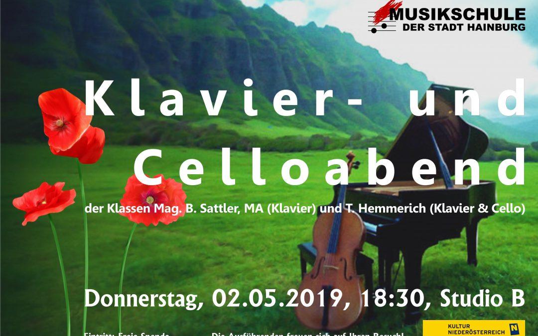 KLAVIER- UND CELLOABEND der Klassen Mag. B. Sattler, MA (Klavier) und T. Hemmerich (Cello, Klavier), 02.05.2019, 18:30, Studio B