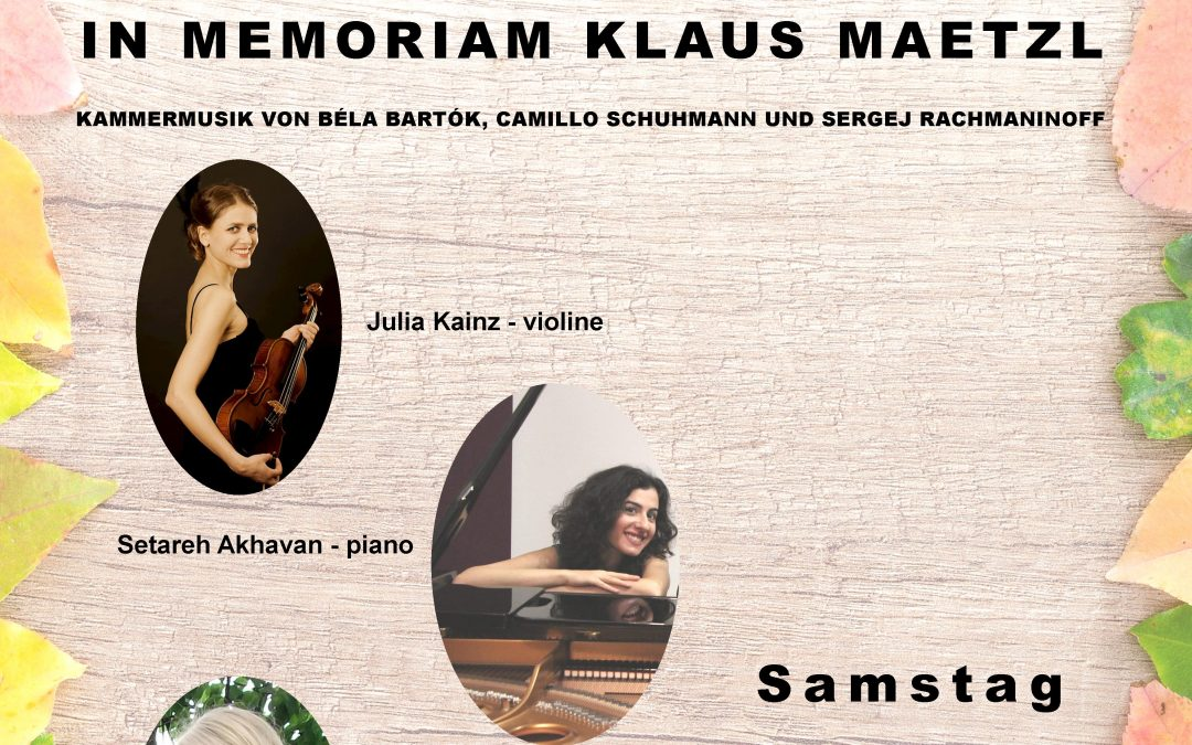 KONZERT In Memoriam Klaus Maetzl, 19.10.2019, 15:00 Uhr, Studio B