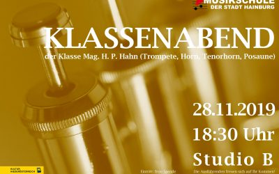KLASSENABEND der Klasse Mag. H. P. Hahn (Trompete, Horn, Tenorhorn, Posaune), 28.11.2019, 18:30 Uhr, Studio B