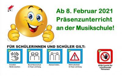 Musikschulunterricht ab 8.Februar 2021 wieder in Präsenz!